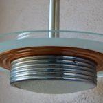 Lustre lampe plafonnier art déco verre et métal vintage