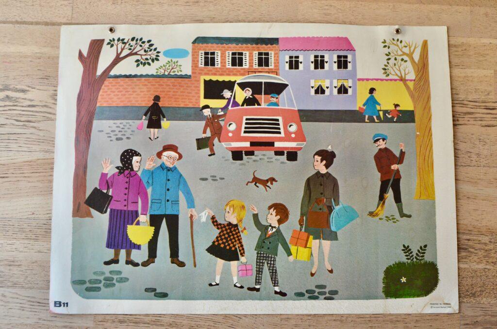 """Poster d'école Fernand Nathan """"L'arrêt de bus"""""""