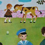Affiche scolaire ancienne Fernand Nathan chambre enfant la pêche la campagne la rivière