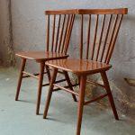 Paire de chaises design vintage scandinave en bois bistrot anciennes
