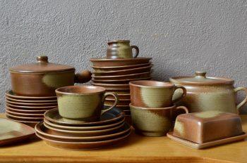 Service de vaisselle bohème en grès céramique vintage vaisselle ancienne rustique primitive wabi sabi