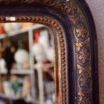 Miroir Louis Philippe vintage rétro années 30 noir et doré bohème