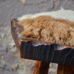 Tabouret rustique primitif wabi sabi vintage ferme chalet boho chevet guéridon tripode chalet